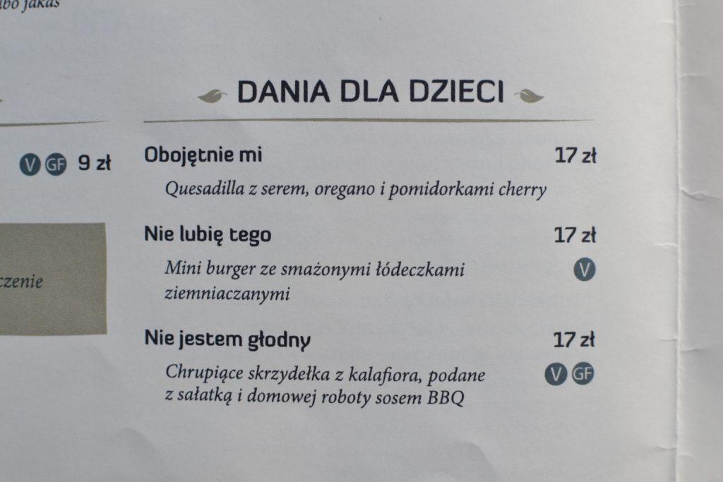 menu dla dzieci